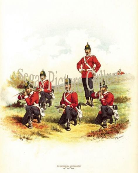 Fine art print of the British Military of The Oxfordshire Light Infantry (43rd and 52nd Foot) by Richard Simkin